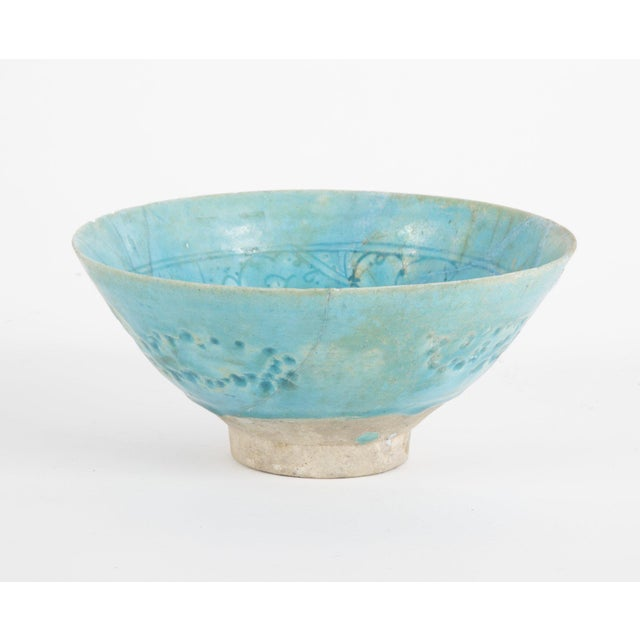 Footed Conical Form Kashan Turquoise Glazed Pottery Bowl For Sale - Image 4 of 8