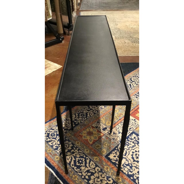 Stylish Bernhardt industrial modern black iron holden console table, eight legs, black hammered iron, showroom floor...