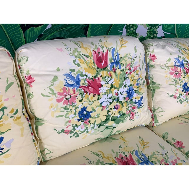 Sherrill Furniture Pair of Floral Upholstered Sofas by Sherrill For Sale - Image 4 of 9