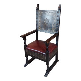 Spanish Renaissance Carved & Embossed Leather Side Chair For Sale