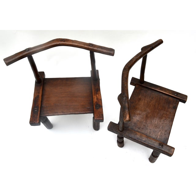 1960s West African Senufo Carved Wood Chair Pair For Sale - Image 5 of 6
