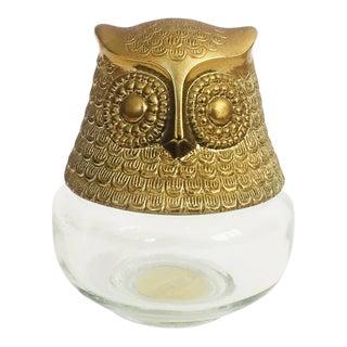 Vintage Glass Owl Jar For Sale