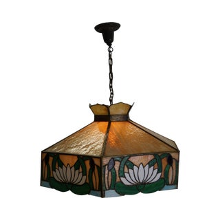 Antique Stained Glass Hanging Chandelier