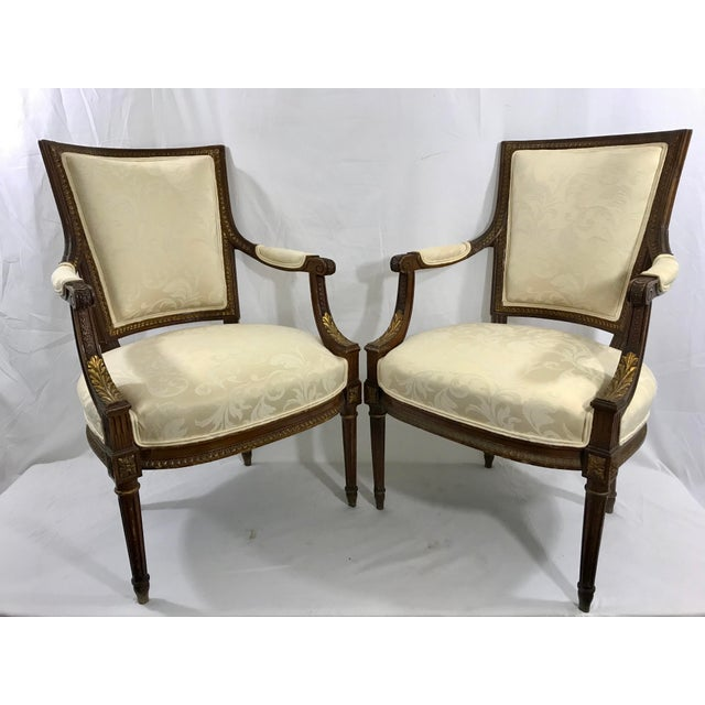 Late 19th Century Louis XVI Style Arm Chairs a Pair For Sale - Image 5 of 6