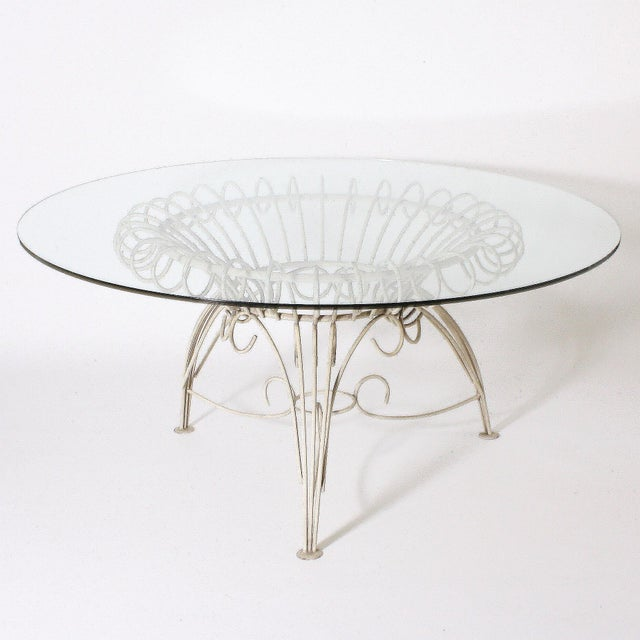 Round Metal Dining Table With Clear Glass Top, C. 1950 For Sale - Image 4 of 11