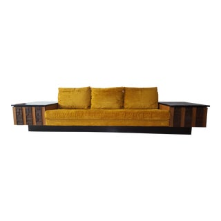 1970s Brutalist Lane Furniture 'Pueblo' Sofa W/ Attached End Tables For Sale