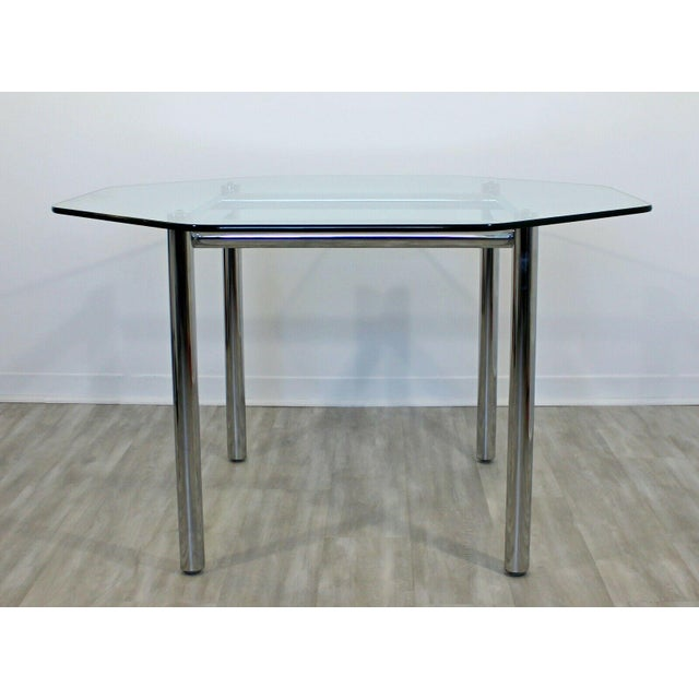 Cal-Style Mid Century Modern Chrome Dinette Set 4 Side Chairs Octagon Glass Top Table 70s For Sale - Image 4 of 12