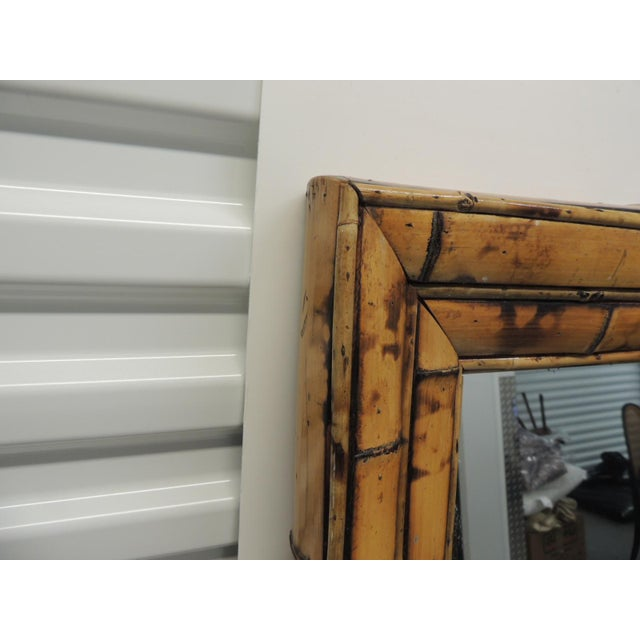 Vintage Rectangular Wood and Bamboo Mirror - Image 2 of 5