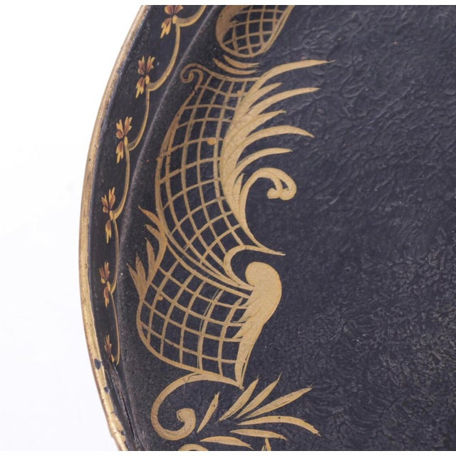 Black Chinoiserie Style Italian Painted Tray Table For Sale - Image 8 of 11