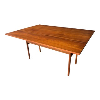Mid Century Danish Modern Drop Leaf Teak Dining Table For Sale