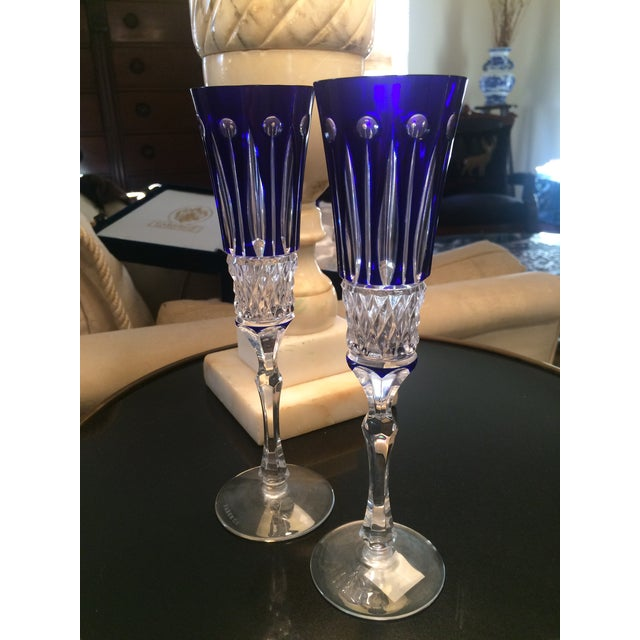 Set of 2 Faberge Xenia cobalt blue champagne wine flutes glasses. New in Faberge Presentation Box with COA. Cased cut to...
