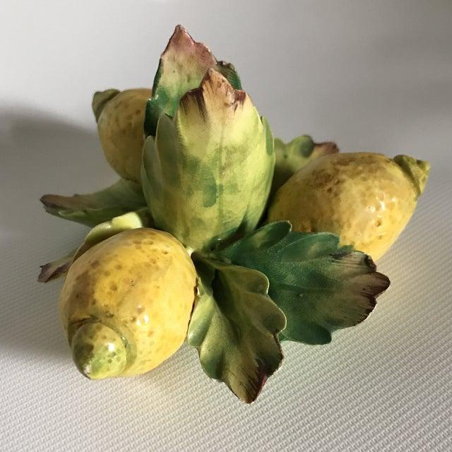 Italian Majolica Porcelain Lemon Candle Holders - a Pair For Sale - Image 9 of 11
