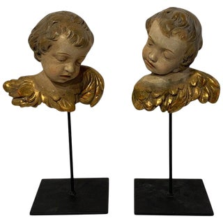 Pair of Italian Polycromed & Gilt Terracotta Angel Heads, Museum Mounted For Sale