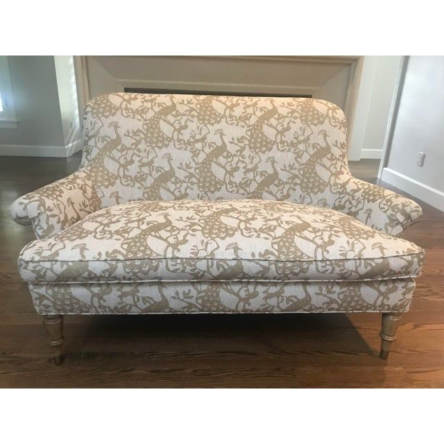 Super comfy settee upholstered with custom linen fabric that is fun yet neutral. Fabric is in a grayish taupe with gold...