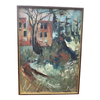 1970s Mid Century Modern Landscape Painting by Dini For Sale