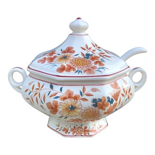 20th Century Chinoiserie Orange and Teal Imari Soup Tureen With Ladle - 2 Pieces