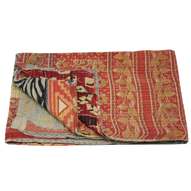 Red and Ebony Vintage Kantha Throw - Image 1 of 4