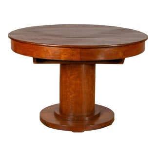 Vintage Dutch Colonial Javanese Teak Round Dining Table with Pedestal Base For Sale