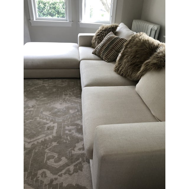 Mitchell Gold Off White Linen Sectional Sofa With Ottoman For Sale - Image 4 of 12