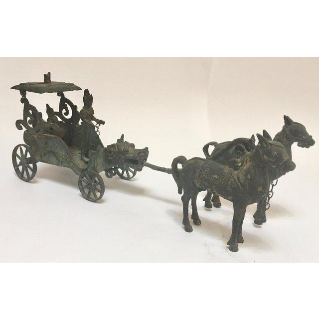 Antique Asian Bronze Chariot With Dragon Head Pulled by Horses For Sale - Image 13 of 13