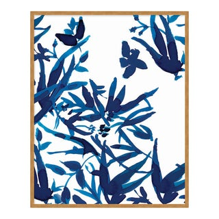 Cobalt Vines 2 by Gold Rush Art, Art Print in Gold Frame, Large For Sale