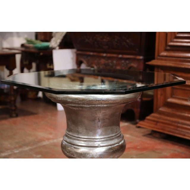 Late 19th Century 19th Century French Polished Cast Iron Urn Shape Table With Octagonal Glass Top For Sale - Image 5 of 8