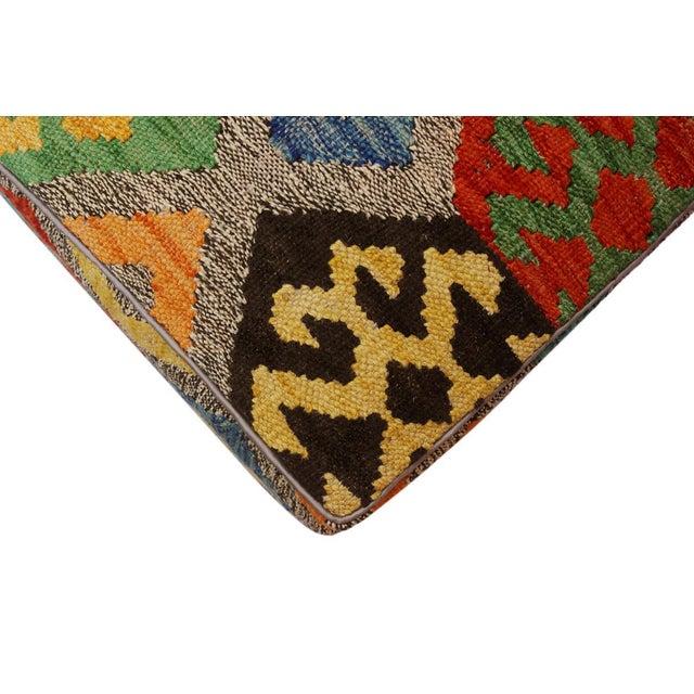 2010s Arshs Curt Black/Ivory Kilim Upholstered Handmade Ottoman For Sale - Image 5 of 8