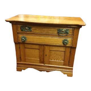 Antique Victorian Oak Washstand For Sale