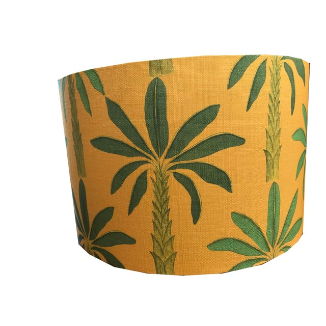 "Contemporary Tropical Drum 18"" Lamp Shade in Gold Yellow For Sale - Image 3 of 5"