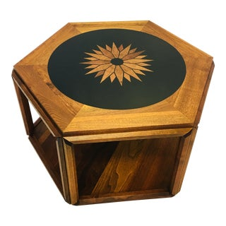 Vintage Brown Saltman Walnut Hexagon Sunburst Table