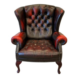 English Wing Back Chesterfield Leather Chair For Sale