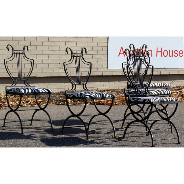 Art Deco Art Deco Italian Wrought Iron Lyre Swan Set 5 Dining Chairs & Table by Copelon For Sale - Image 3 of 11