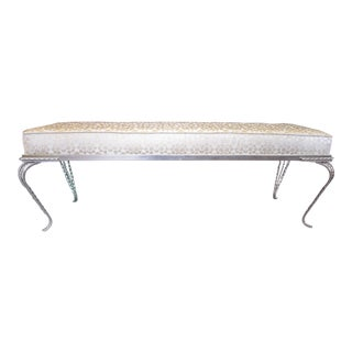 Long French Art Deco Hammered Iron Upholstered Sitting Bench, Georges Vinant For Sale