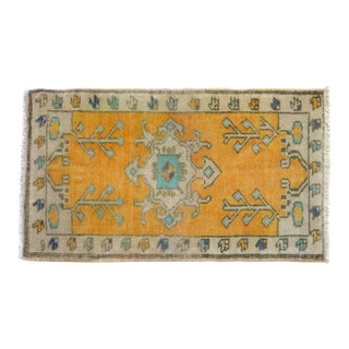 Distressed Low Pile Yastik Rug Faded Small Rug Bath Mat- 19'' X 32'' For Sale