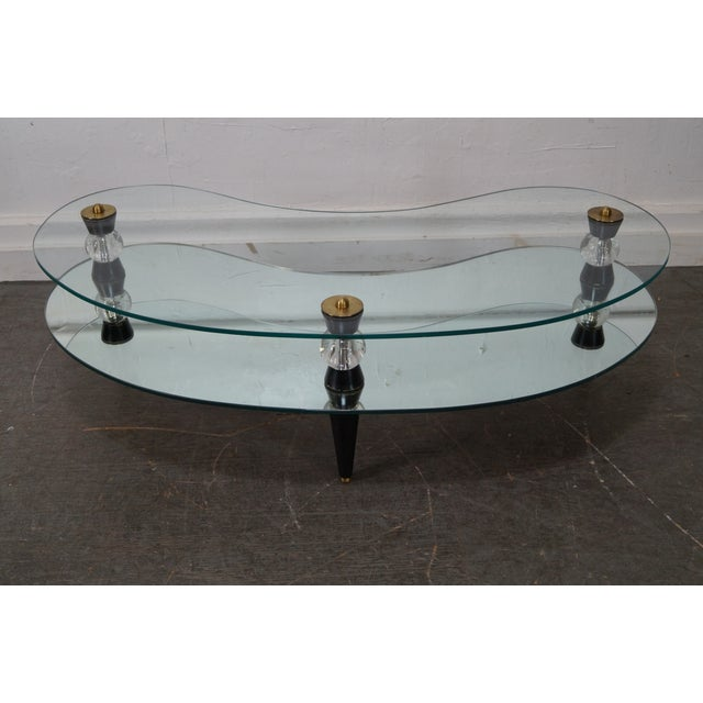 Semon Bache Hollywood Regency Kidney Shaped Mirrored Coffee Table - Image 5 of 10