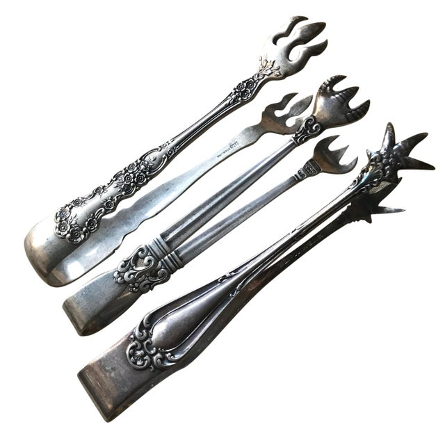 Early 20th Century Antique Sterling Silver Serving Tongs - 3 Piece Set For Sale - Image 5 of 5