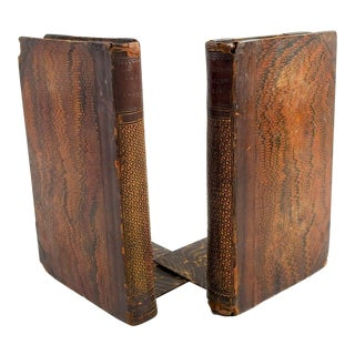 19th Century Leather Book Bookends - a Pair