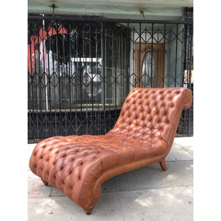 1960s Mid-Century Modern Leather Tufted Chaise Lounge Preview
