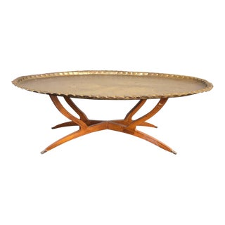 1960s Moroccan Brass Tray Coffee Table For Sale