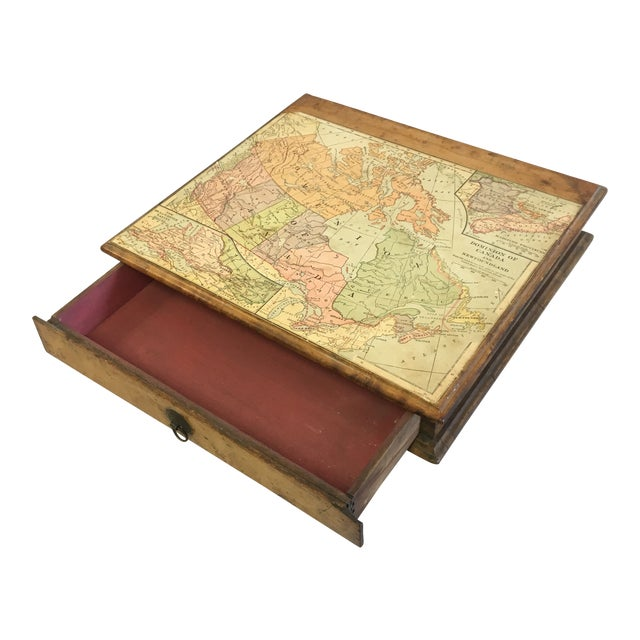 Vintage Wooden Drawer With Map For Sale