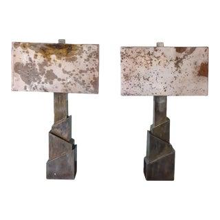 """Parchment """"Sculptural"""" Table Lamps - a Pair For Sale"""
