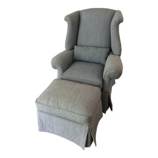 1990s Transitional Sherrill Indigo Wingback Chair and Ottoman - 2 Pieces For Sale