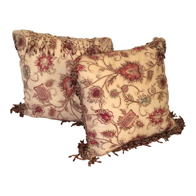 Vintage Silk Needle Point Fabric Pillows - A Pair - Image 1 of 8