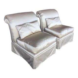 Slipper Chairs Gold Hollywood Regency Style a Pair For Sale