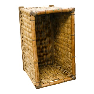 1920s Vintage Large Rectangular Wicker Basket For Sale