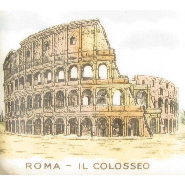 Lovely vintage ashtray featuring the Colosseum amphitheater of Rome. A treasured souvenir from a memorable voyage to...