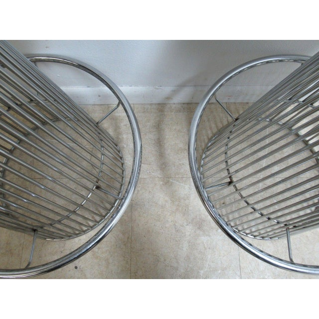 Vintage Chrome Wire Cone Bar Stools - A Pair - Image 6 of 11