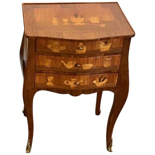 Louis XVI Style King and Tulip Wood Marquetry End Table For Sale