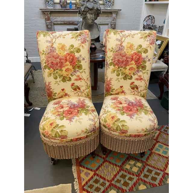 Vintage Floral Parsons Chairs - a Pair For Sale In Boston - Image 6 of 6