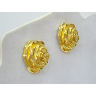 1970s Givenchy Gold-Plated Rose Earrings Preview